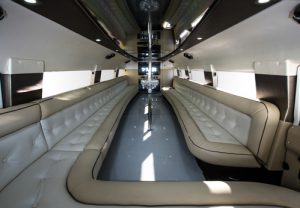 Luxury rented car interior. Wedding party limousine.